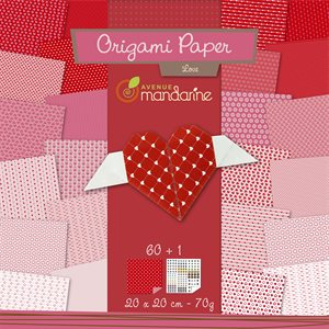Papier Origami 60 fls assorties amour